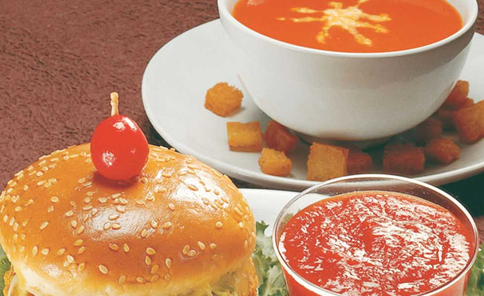 cream of tomato soup and chicken burger